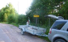 дорожный знак на Уксунлахти